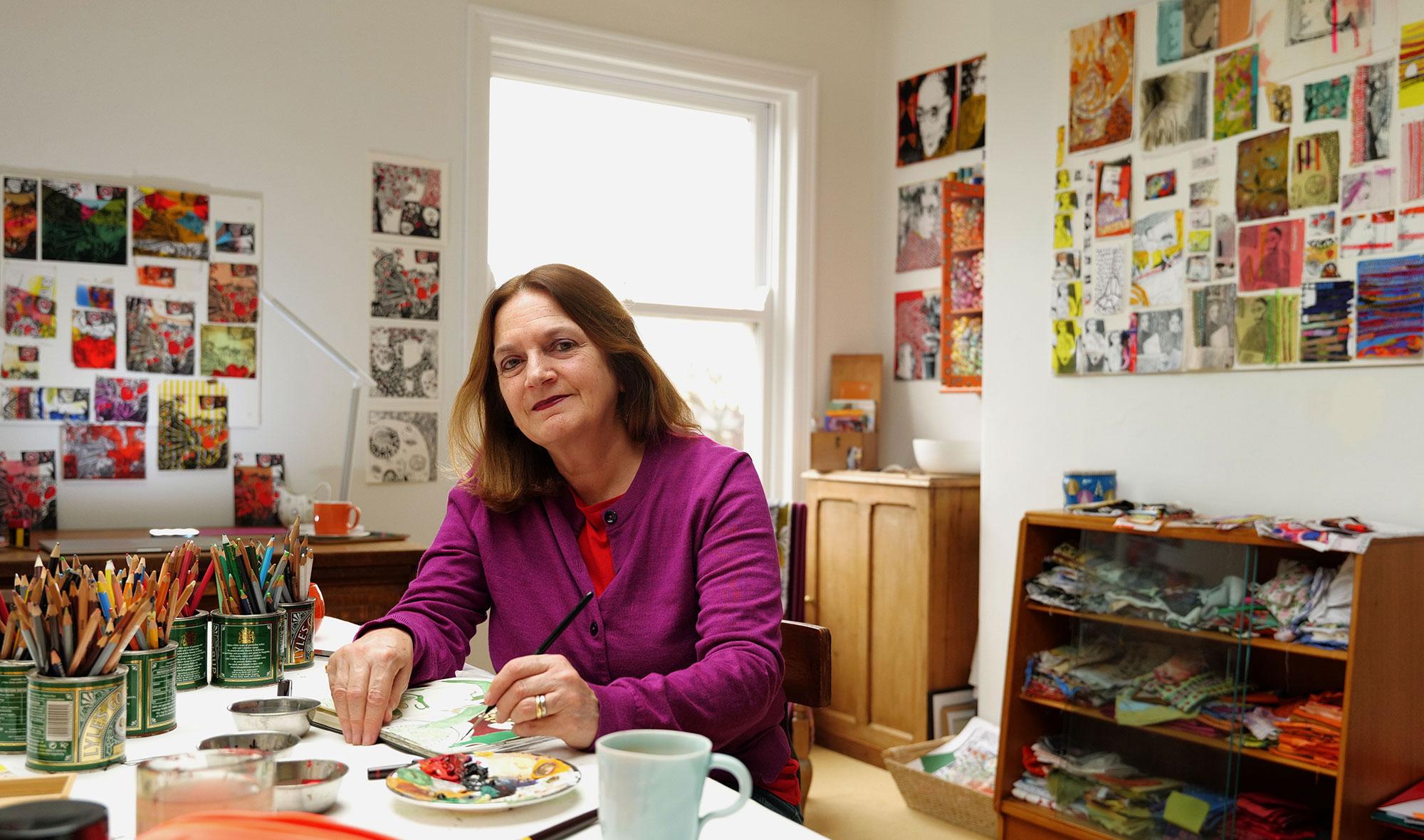 Jane McKeating in her studio